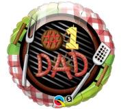 #1 Dad Backyard Barbecue Mylar Foil Balloon