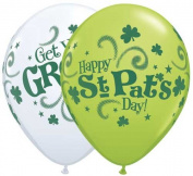 Qualatex St. Patrick's Get Your Green On 28cm Round Balloons, Green and White - Pack of 5