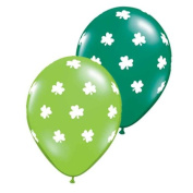 Qualatex Big Shamrocks 28cm Round Balloons, Lime and Emerald Green Jewel -- Pack of 5