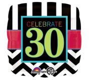 Celebrate 30 Chevron & Stripe Square Shaped 60cm Mylar Balloon