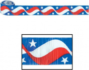 Beistle 55391 Flame Resistant Stars and Stripes Crepe Streamer, 21/2 by 30-Feet