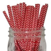 Chevron Stripe Paper Straw 25pcs Red