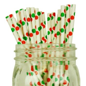Polka Dot Paper Straw 25pcs Red & Green -Just Artefacts Brand