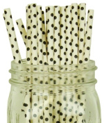 Mini Polka Dot Paper Straw 25pcs White with Black Dots -Just Artefacts Brand