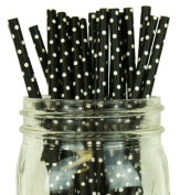 Mini Polka Dot Paper Straw 25pcs Black with White Dots -Just Artefacts Brand