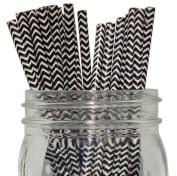 Chevron Stripe Paper Straw 25pcs Black
