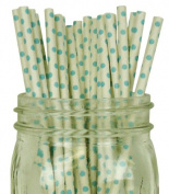 Mini Polka Dot Paper Straw 25pcs White with Light Blue Dots -Just Artefacts Brand