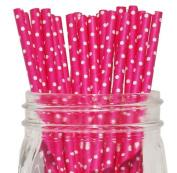 Mini Polka Dot Paper Straw 25pcs Fuchsia -Just Artefacts Brand