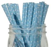 Mini Polka Dot Paper Straw 25pcs Light Blue -Just Artefacts Brand