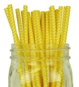 Chevron Stripe Paper Straw 25pcs Yellow