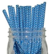 Chevron Stripe Paper Straw 25pcs Blue