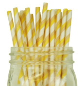 Striped Paper Straw 25pcs Ivory & Taupe -Just Artefacts Brand