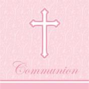 Faith Pink Communion Lunch Napkins 18 Per Pack