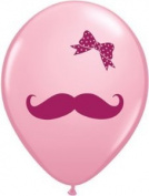 28cm Moustache and Bow Latex Balloon 10ct