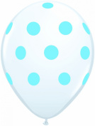 12ct White with Pale Blue Polka Dots 28cm Latex Balloons