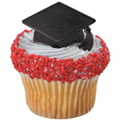 Black Graduation Hat Cupcake Rings