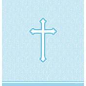 Faith Blue Plastic Tablecloth