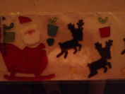 Santa with Reindeer Reuseable and Washable Gel Clings 46cm Display