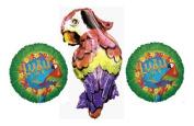Tropical Parrot Luau Balloon Bouquet - 3 Parrot Party Balloons Bundle
