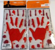 Bloody Hands Dripping Blood Halloween Gel Clings Cling Window Mirror Decor Lot 2 NIP