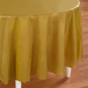 Festive Gold Table Cover - Gold Round Plastic Table Cover - 1 per Package