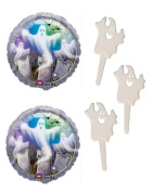 20 Ghost Cupcake Picks with 2 Mostly Ghostly Mylar Balloons - Ghostly Party Bundle