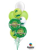 Qualatex Happy St Patricks Day Moustache Latex & Foil 9pc Balloon Bouquet - Party Decorations