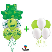 Qualatex St Pat's Get your Green On Shamrocks & Moustache 14pc Balloon Bouquet Pack