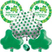 Happy St Patrick's Day Shamrocks 6pc Mylar Balloons Pack - Party Decorating