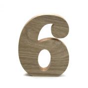 Koyal Wholesale No.6 Vintage Freestanding Wooden Numbers, 12cm