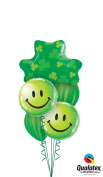 Qualatex Happy St Patricks Day Smiley Face Shamrock Latex & Foil 6pc Balloon Bouquet