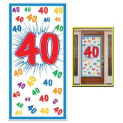 HAPPY 40th BIRTHDAY Party DOOR COVER/Banner/DECOR/DECORATIONS 80cm x 150cm FORTIETH/Look Who's 40-OVER the HILL Parties