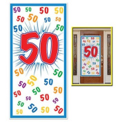 HAPPY 50th BIRTHDAY Party DOOR COVER/Banner/DECOR/DECORATIONS 80cm x 150cm FIFTIETH/Look Who's 50-OVER the HILL Parties