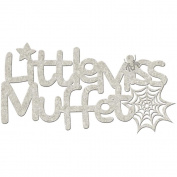 Die-Cut Grey Chipboard Word-Little Miss Muffet 15cm x 6.4cm