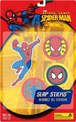 Marvel Slap Sticks Spiderman Reusbale Gel Stickers, 13cm Character and 3 6.4cm Icons