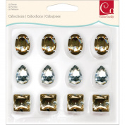 Cosmo Cricket COS68241 Cabochons Decorative Gems, 12 Gems Per Pack, 4 Different Shapes, Silver and Gold