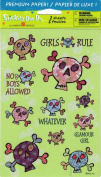 Girls Rule Skulls Sparkle Scrapbook Stickers