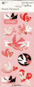 Hearts Doves Valentine Glitter Scrapbook Stickers