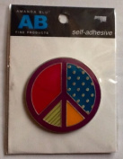 Self Adhesive Metal Medallion for Scrapbook or Frame Embellishments ~ ONE Peace Sign