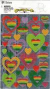 Distressed Rainbow Hearts Sparkle Scrapbook Stickers