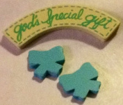 "Baby Craft, Pre-painted, Wood Minis, Decorative Miniatures. Blue, ""God's Special Gift"" with 2 Ribbons"