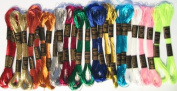 New Threadsrus 24 Skeins of High Quality 100% Cotton Metallic Thread for Hand Embroidery - Assorted Colours