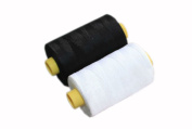 1 Black & 1 White Spools Polyester Sewing Thread 800 Yards Each