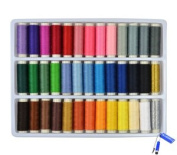 Bluecell 39 Assorted Colour 200 Yards Per Unit Polyester Sewing Thread Spool Set + Bluecell LCD Cleaner Stylus