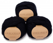 100% Baby Alpaca Yarn Skeins - Set of 3 (Dark Blue) - AndeanSun - Luxuriously soft for knitting, crocheting - Great for baby garments, scarves, hats, and craft projects – DARK BLUE