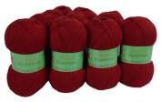 Alpaca Blended Knitting Yarn Fingering 10 Skeins, Red
