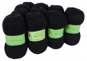 Alpaca Blended Knitting Yarn Fingering 10 Skeins, Black