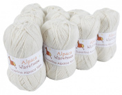Alpaca Knitting Yarn Fingering 10 Skeins by Putuco(IC), Ivory