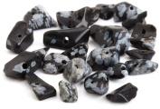 Beaders Paradise LTCH33 Snowflake Obsidian Grey Semi-Precious Chips in a Tube