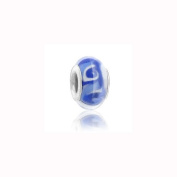 Charm Factory Blue Wave Lampwork Glass Bead